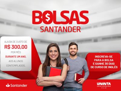 Bolsa Santander Graduação: R$ 300,00 por mês durante um ano, além de 30 dias grátis de Curso de Inglês; Inscrições Abertas