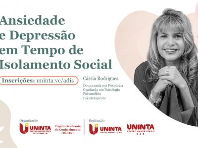 """Polo UNINTA EAD de Castanhal promove a palestra """"Ansiedade e Depressão em Tempo de Isolamento Social"""""""