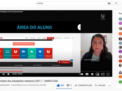 Com quase 2 mil inscritos, UNINTA EAD realiza acolhimento virtual aos estudantes veteranos